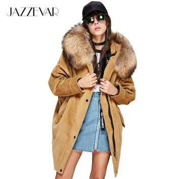 JAZZEVAR 2017 Autumn/winter new women's parkas real lamb detachable liner large raccoon fur jacket corduroy coats loose clothing