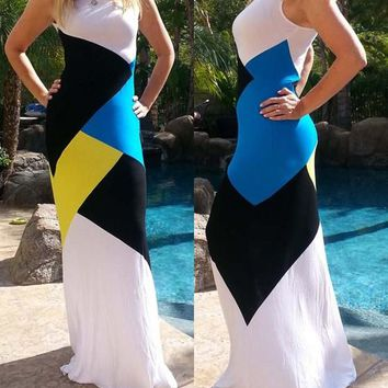 White Patchwork Color Block Print Sleeveless Maxi Dress