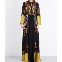 ETRO - Bell-sleeve printed silk gown | Selfridges.com