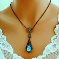 BERMUDA BLUE Peacock Antiqued Brass VICTORIAN Necklace - Wedding Jewelry | Handmade Jewelry |