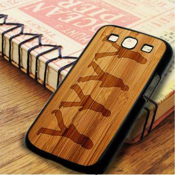 The Beatles Black Silhouette Wood Design Samsung Galaxy S3 Case