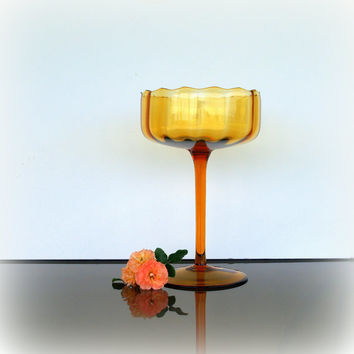 TALL ANTIQUE AMBER Glass Compote Vintage Hand-blown Italian Empoli Glass Dish - Lovely Pedestal Bowl - Mid Century Glassware - Home Decor
