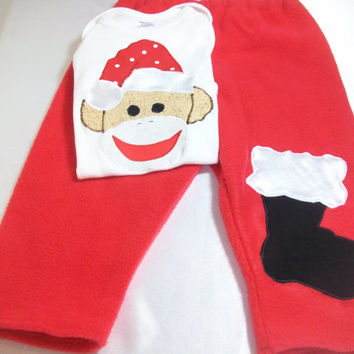 Baby Christmas Clothes - Sock Monkey Baby Outfit - Santa Sock Monkey - Fleece Baby Outfit