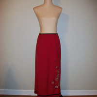 Bohemian Skirt Size 12 Large Long Skirt Red Paisley Fringed Skirt Embroidered Office Clothing Career Clothing FREE SHIPPING Womens Clothing