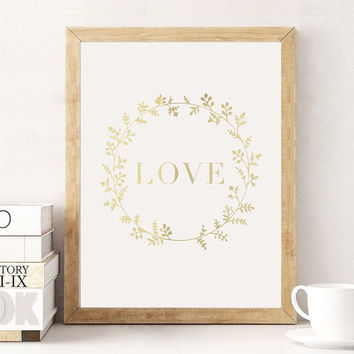 Love Flowers Gold Foil Print, Flowers Print, Love Poster, Home Wall Art, Gold Foil Art Print, Gold Home Decor, Gold Wall Art, Gold Print.