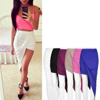 Draped Asymmetrical High Waisted Stretch Bodycon Low Mini Maxi Skirts New = 1932746500