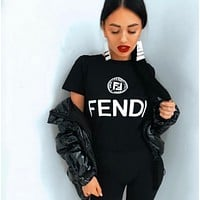 FENDI Fashionable Women Casual F Letter Print Short Sleeve Top T-Shirt