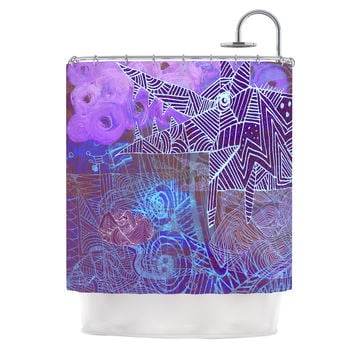 "Marianna Tankelevich ""Abstract With Wolf"" Purple Illustration Shower Curtain"