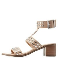 STUDDED CHUNKY HEEL SANDALS