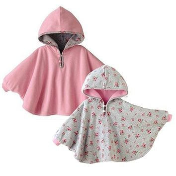 2016 Baby Cloak Two-sided wear Reversible baby children's cape outerwear jacket clothing coat velvet Xmas baby hoodie romper