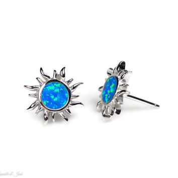 Sterling Silver Blue Opal Sun Stud Earrings