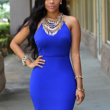 Royal Blue Strappy Zip Back Bodycon Dress