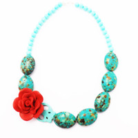 Frida Kahlo Turquoise Howlite Stone and Glass Beads Mexican  Necklace