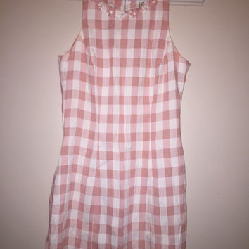Vintage pink and white checkered tank dress with daisies on the neckline size 5 1990's