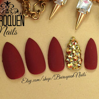 Matte Maroon Burgundy Nails Gold Bling Accent Nail | Made To Order DIY Fake Nails | False Nails | Press On Nails | Glue On Nails | Nail Tips