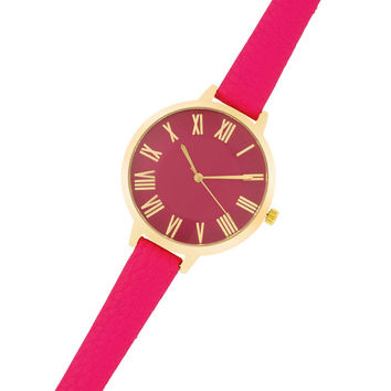 Fashion Accessories Gold Watch With  Leather Strap PINK
