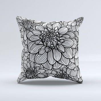 White and Black Flower Illustration ink-Fuzed Decorative Throw Pillow