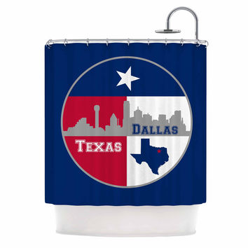 "Bruce Stanfield ""Dallas Texas"" Red Blue Shower Curtain"