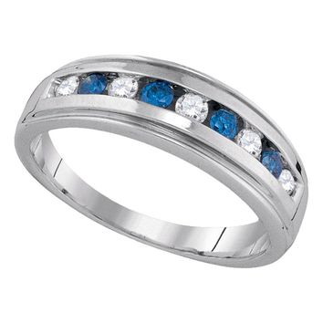 10kt Yellow Gold Womens Round Blue Color Enhanced Diamond Wedding Anniversary Band Ring 1/2 Cttw