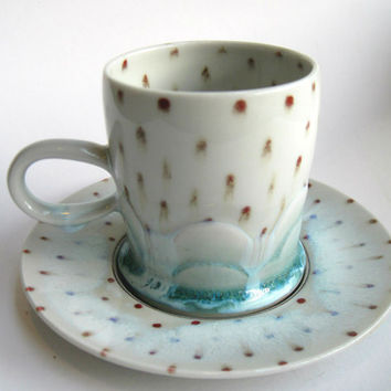 READY TO SHIP Drippy Polka Dot Cloud Cup and Saucer Set Teal and red