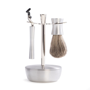 """""""Mach 3"""" Razor & Pure Badger Brush with Chrome and Stainless Soap Dish & Stand."""