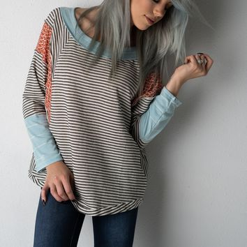 Charcoal Striped and Geo Print Long Sleeve Top