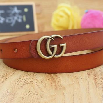 "Hot Sale ""GUCCI"" Fashionable Woman Men Casual Smooth Buckle Leather Belt Brown"