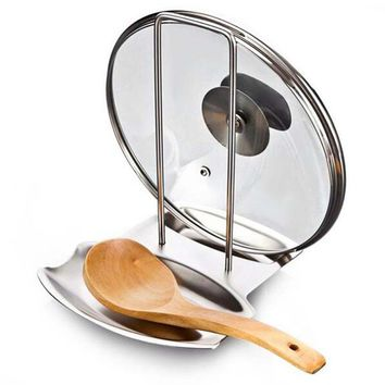 1Pc Stainless Steel Pan Pot Rack Cover Lid Rest Stand Spoon Holder Home Applicance The Goods For Kitchen Accessories