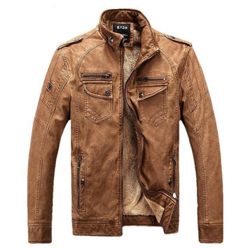 Male Motorcycle Fashion Leather Jacket Men Winter Pilot Leather Jackets And Coats Biker Mantel Mens Faux Fur Coats Famous Brand