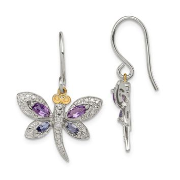 Sterling Silver & 14k Yellow Gold Amethyst Lolite And Diamond Dragonfly Earrings