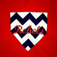 Monogrammed Pocket Tee Red or Gray t-shirt with blue and white chevron with Rebels or Ole Miss