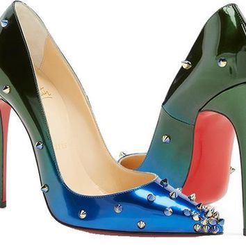 Christian Louboutin DEGRASPIKE 120 Studded Heels Shoes Ombre Blue Green $1065