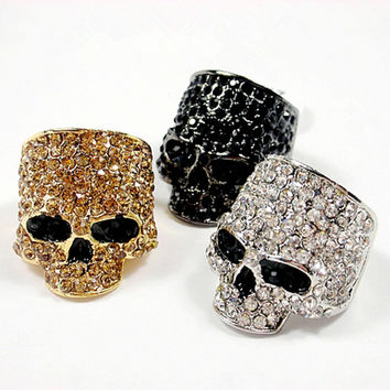 Ghost Era - Diamoned Skull Ring - Silver/Gold/Black