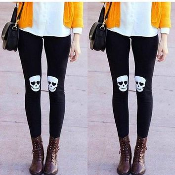 Black Skull Print Elastic Waist Casual Nine's Leggings