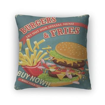 Throw Pillow, Vintage Burgers With Fries Set Poster Design