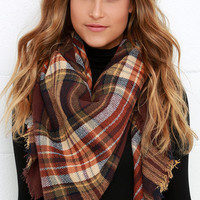 Ticket to Timbuktu Brown Plaid Scarf