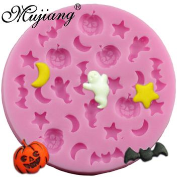 Mujiang Halloween Chocolate Silicone Molds Bat Pumpkin Sugar Candy Jelly Moulds Cupcake Party Fondant Cake Decorating Tools