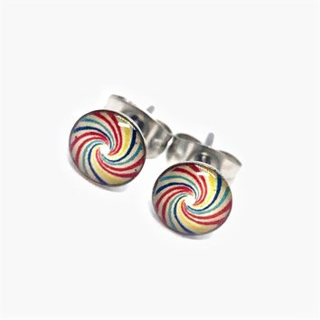Colorful Swirl Stainless Steel Studs