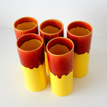 Vintage Barware Franciscan Pottery Cocktail Glasses Bright Yellow Red 1960s Set of 5