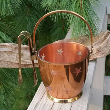 Copper Star Cutout Ice Bucket with Brass Tongs