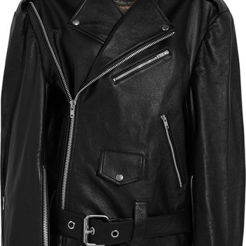Vetements - Oversized leather biker jacket