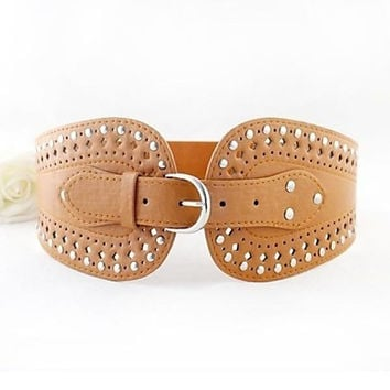 Female korean style Wide leather hollow Belt women's Cute Party Work Casual Leather belt = 1931760260