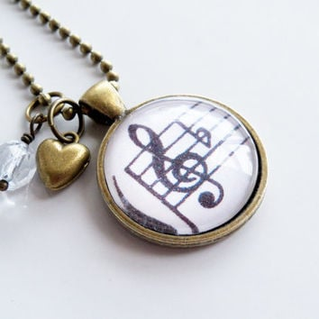 Treble Clef Necklace - Music Necklace - Classical Piano Pendant - Sheet Music Jewelry - Music Lover Gift - Piano Teacher Gift - Staff Notes