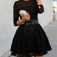 Black Mesh Panel  Floral Lace Belted Skater Dress