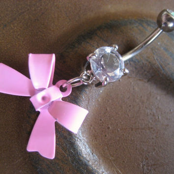 Baby Pink Bow Belly Button Ring Jewelry Navel Piercing Bar Barbell Stud Charm