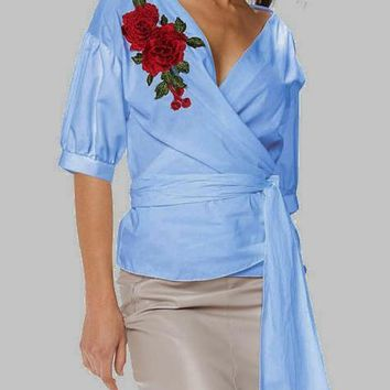Blue Flowers Embroidery Sashes Plunging Neckline Lantern Sleeve Blouse
