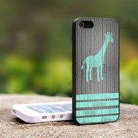 Mint Giraffe Strippes on dark wood - For iPhone 4,4S Black Case Cover