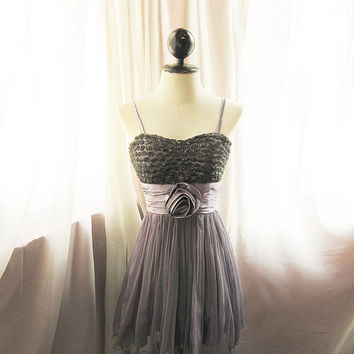 Marie Antoinette Romantic Mauve Gray Roses Dreamy Autumn Ethereal Angel Whimsical Taupe Rosette Ballerina Mini Tulle Dress
