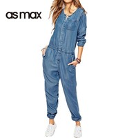 asmax Blue Denim Jumpsuit Romper O-Neck Slim Elastic Jumpsuit Pockets Single Breasted Basic Romper Casual Slim Playsuits New