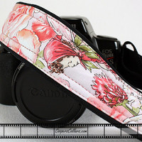 dSLR Camera Strap, Fairies and Roses with Pocket, SLR 2